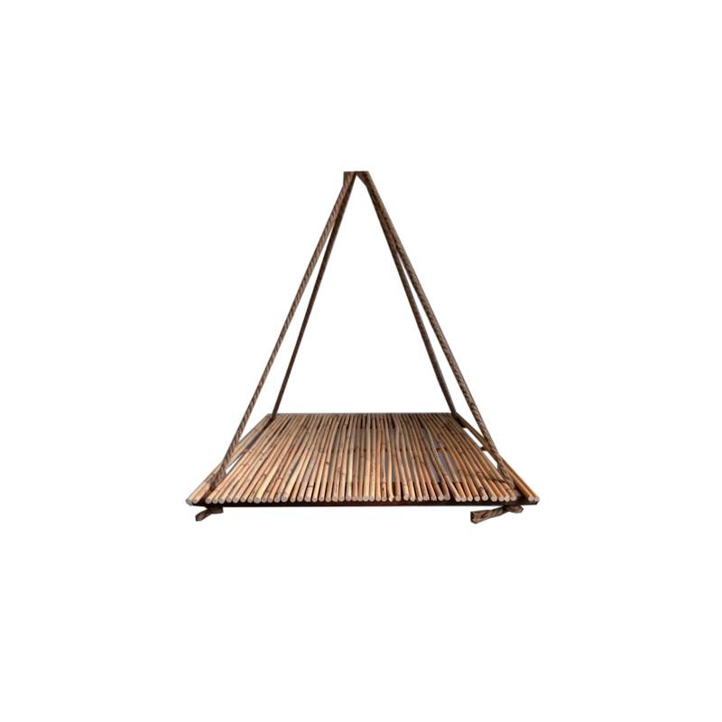 Set de 2 suspensions carrées en bambou Jouka - Composition florale
