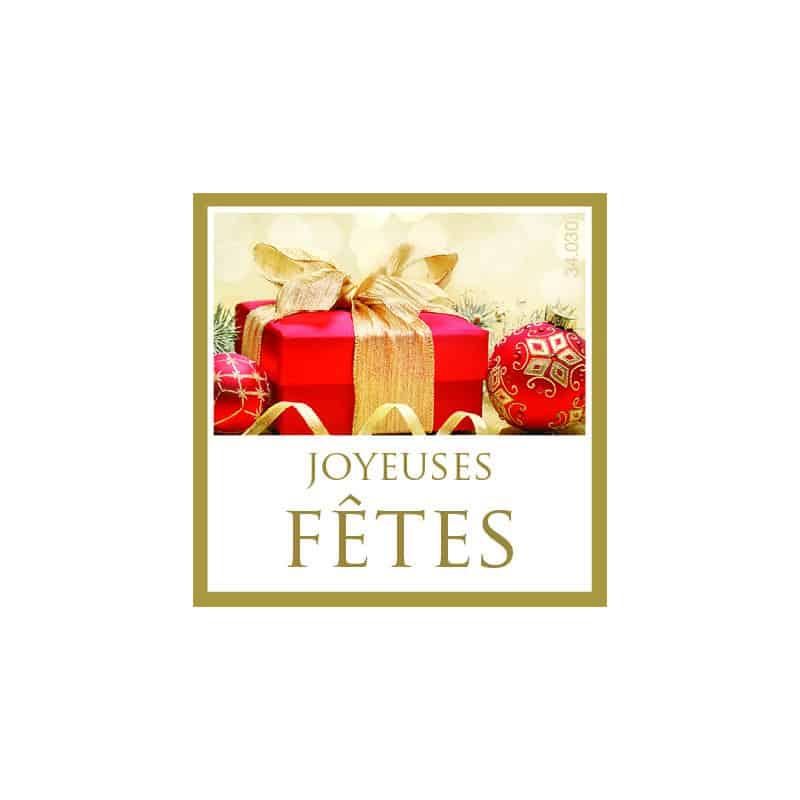 Étiquettes adhésives Joyeuses fêtes Lynda - Déco grossiste décoration