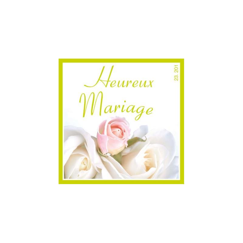 Étiquettes adhésives Heureux mariage Lylie - Grossiste pour fleuriste