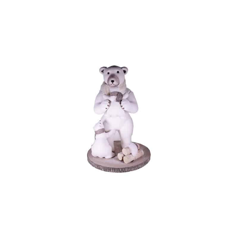 Famille ours sur rondin bois Mosin - décoration nöel animaux