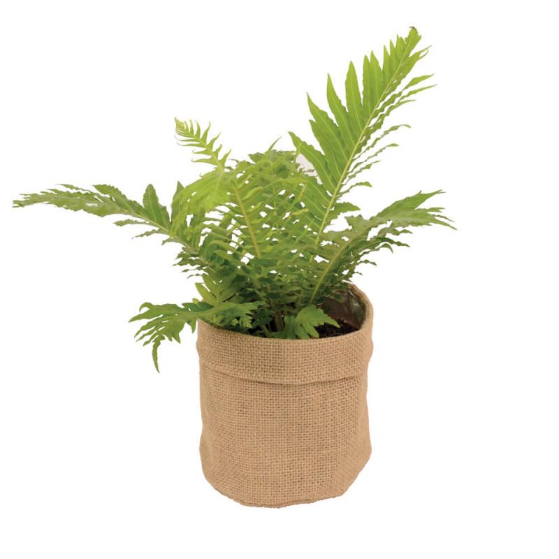 Cache-pot en jute intérieur plastifié Larsy - Grossiste fleuriste pot de fleurs