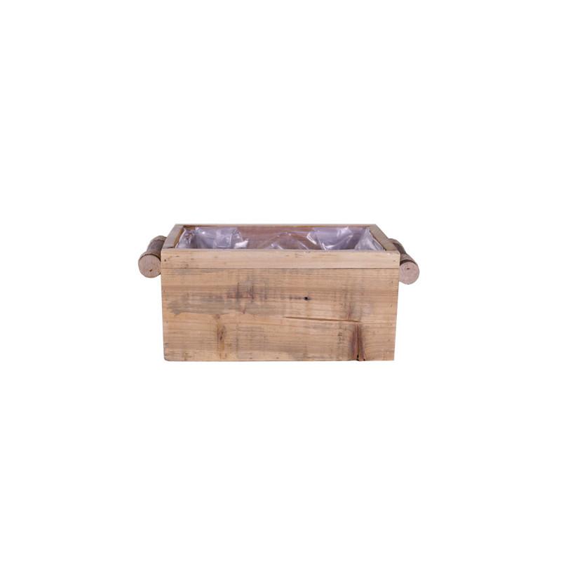 Jardinière rectangle poignées rondins Miller - grossiste fleuriste