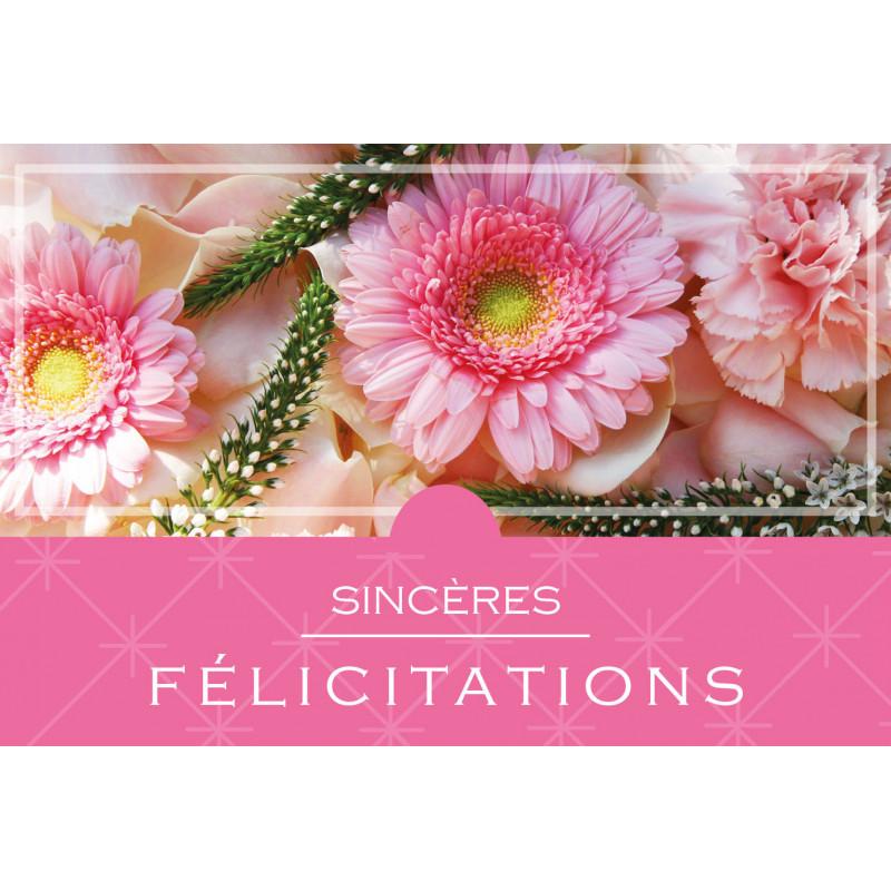 10 cartes de circonstance Sincères félicitations - Grossiste roses étenelles