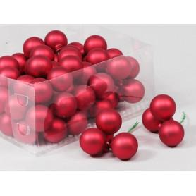 Boules de Noël en verre différentes tailles - Rouge - Grossiste Noel