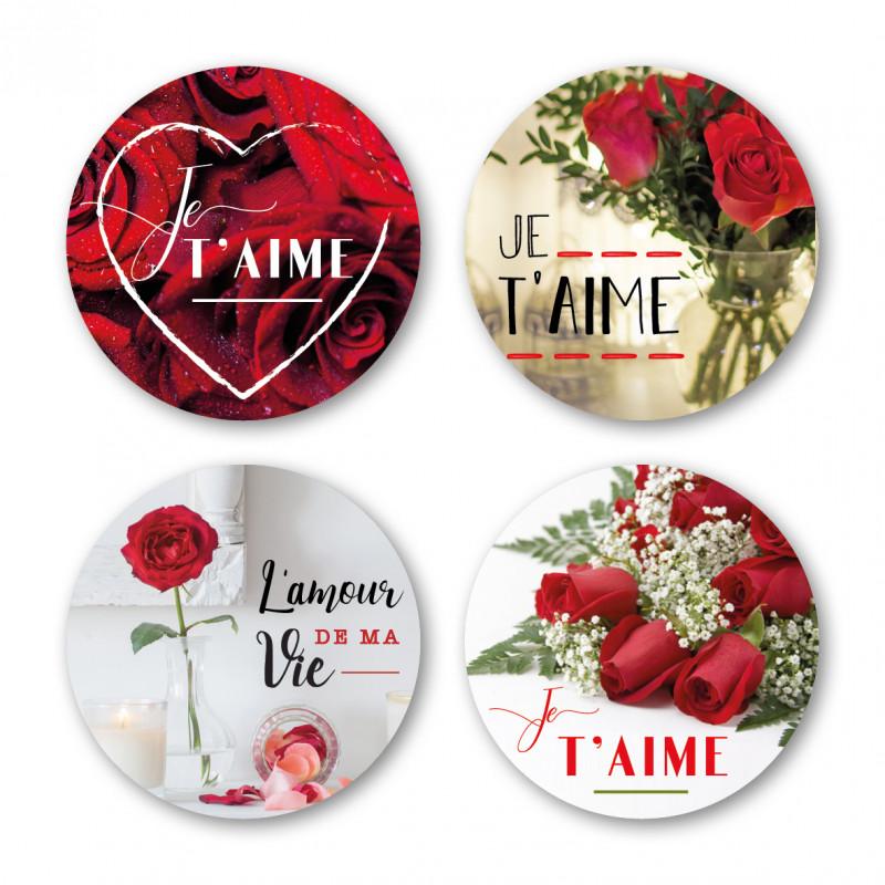 Étiquettes adhésives ronde Je t'aime - Grossiste Saint Valentin déco