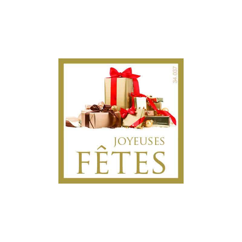 Étiquettes adhésives Joyeuses fêtes - Grossiste fleuriste Noël décoration