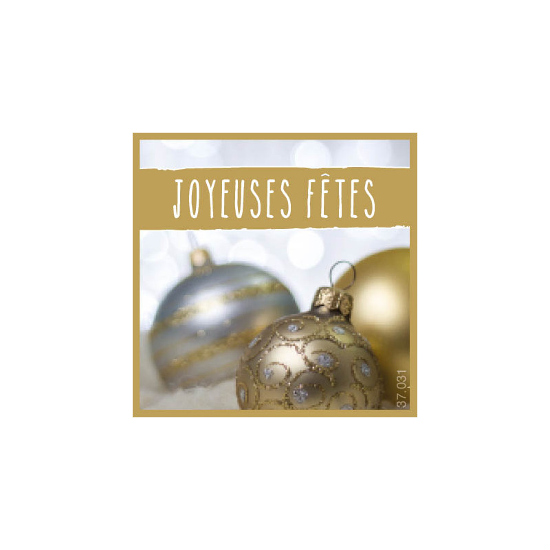 Étiquettes adhésives Joyeuses fêtes - Grossiste fleuriste déco Noël