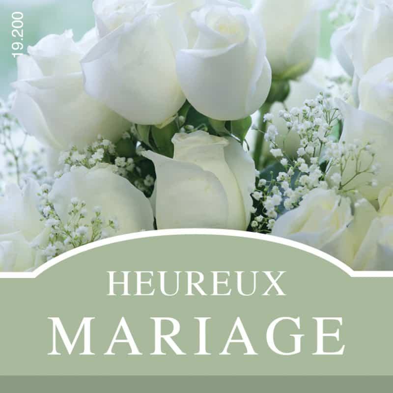 Étiquettes adhésives Heureux mariage - Composition florale décoration