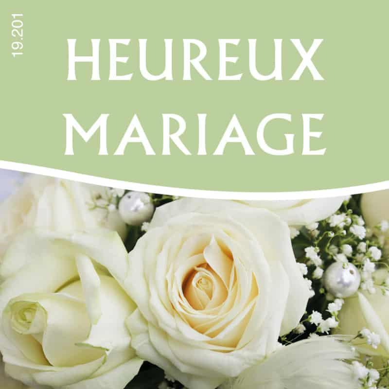 Étiquettes adhésives Heureux mariage - Matériel pour fleuriste déco
