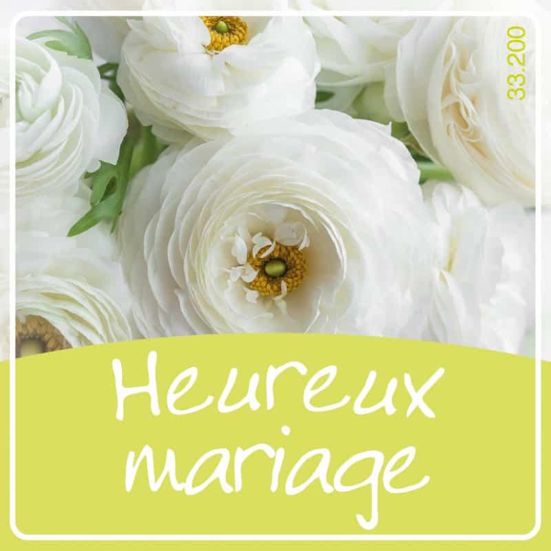 Étiquettes adhésives Heureux mariage - Composition florale déco mariage