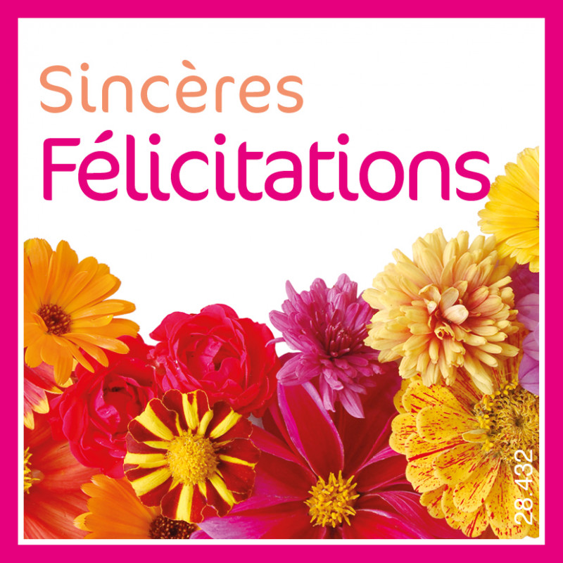 Étiquettes adhésives Sincères félicitations - Grossiste fleuriste déco