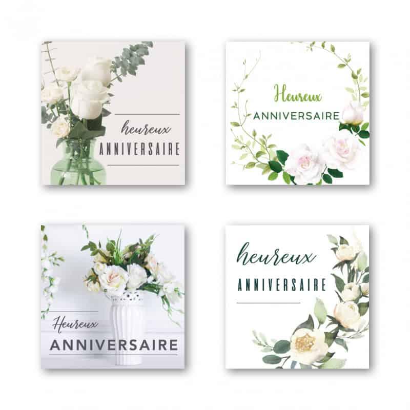 Étiquettes adhésives Heureux mariage - Grossiste fleuriste déco
