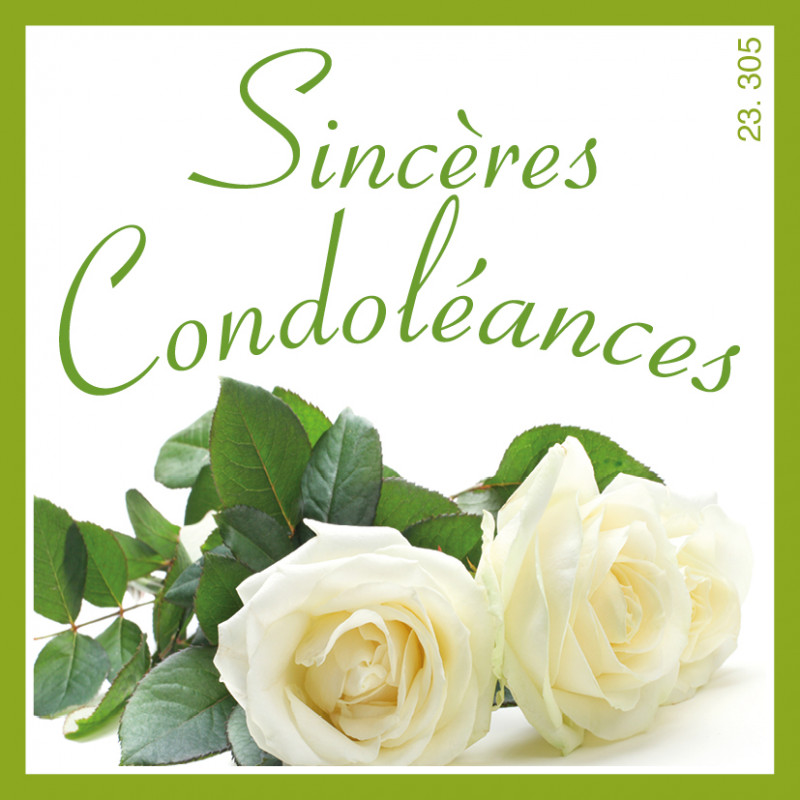 Étiquettes adhésives Sincères condoléances - Grossiste décoration fleurs