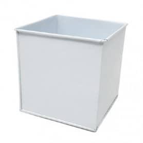 Pot carré zinc blanc