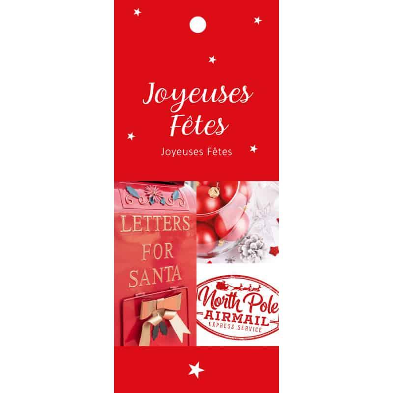 12 cartes de circonstance longues Joyeuses fêtes - Grossiste déco Noël
