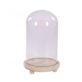 Cloche verre socle bois Berdo