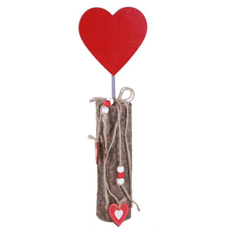 Cœur sur socle bois Pujia - Saint valentin