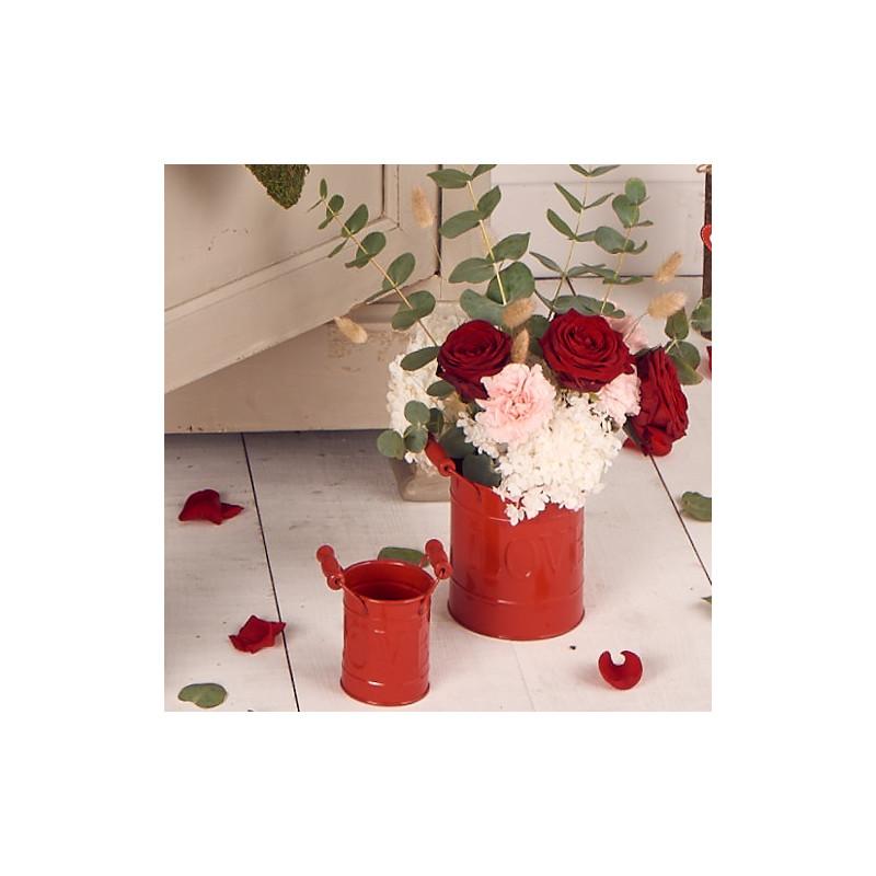 Pot cylindre anse en bois Raoza - Saint Valentin