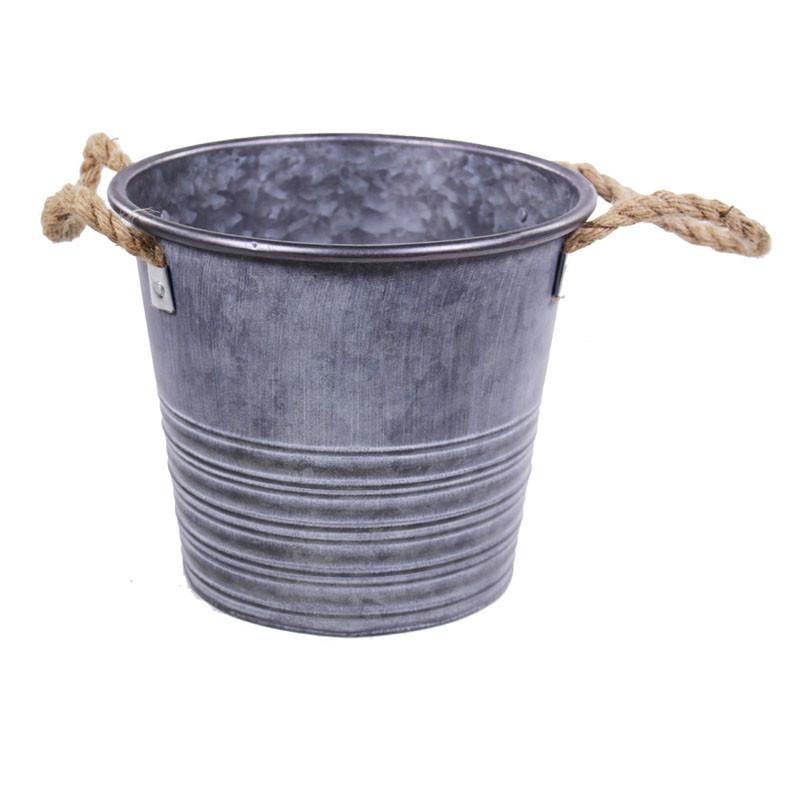 Pot rond zinc naturel anses corde - grossiste fleuriste