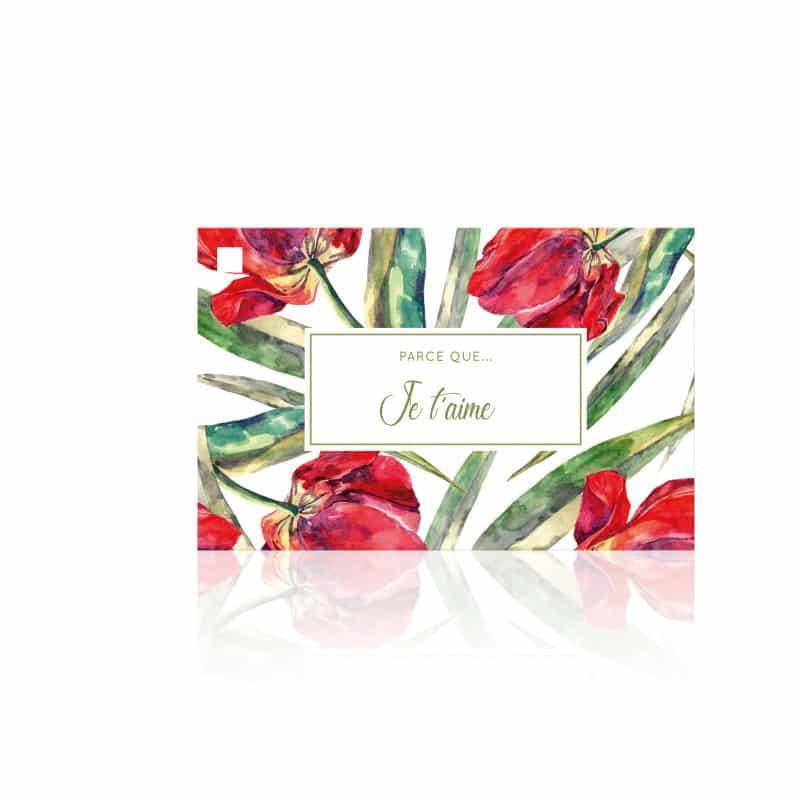 10 cartes de circonstance Je t'aime - Grossiste fleuriste déco St Val