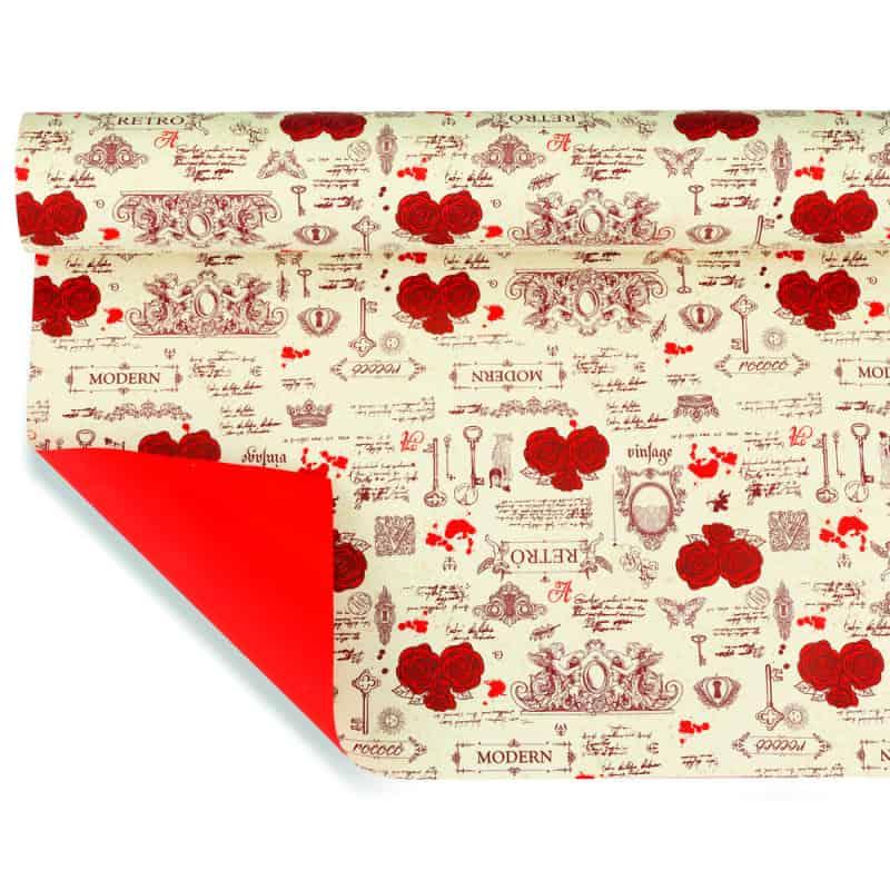 Papier imprimé 40µ Rosace - Grossiste emballage papier déco St Valentin