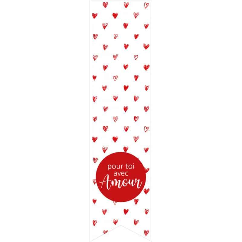 Étiquettes adhésives longues - Saint Valentin grossiste fleurs amour