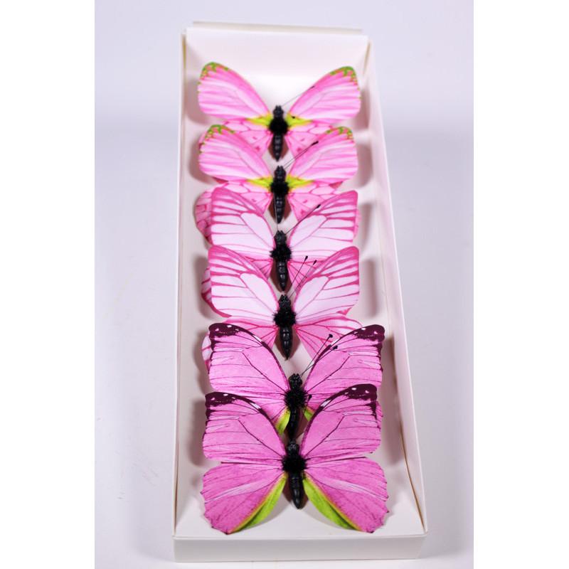 Papillons sur clip 8cm Puye - Grossiste fleuriste