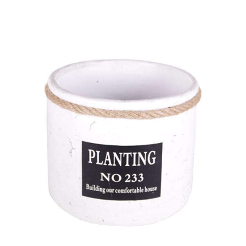 Set de pots rond gris et blanc Planting - Plusieurs tailles - grossiste fleuriste