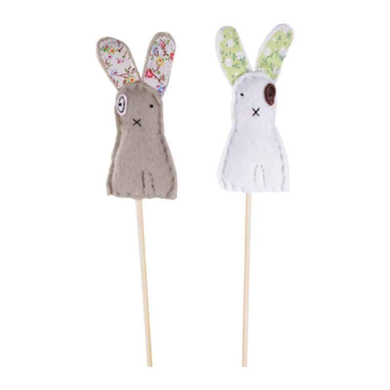 Pic printemps 2 lapins Konk - grossiste décoration printemps