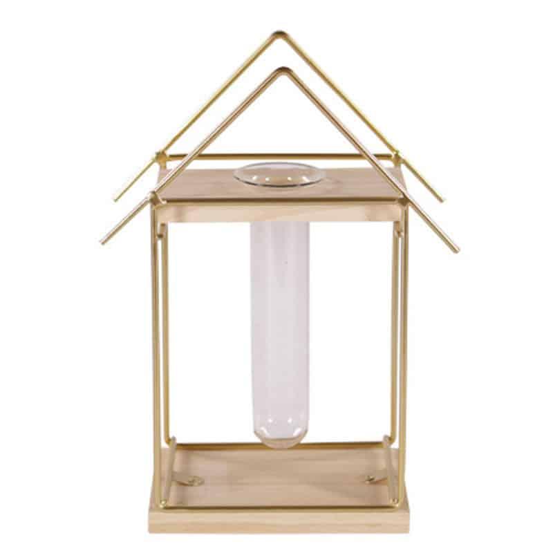 Éprouvette maison bois et métal eddy - accessoire déco fleuriste
