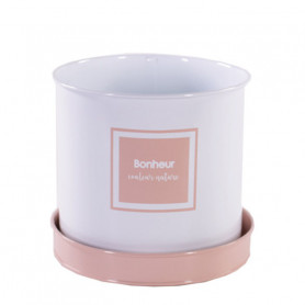 Set de pot cylindre bonheur rose et gris - Plusieurs tailles - grossiste pot de fleurs