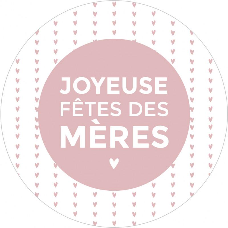 """Étiquettes ronde """"Joyeuse fête des mères"""" - Sully - Fleuristerie."""
