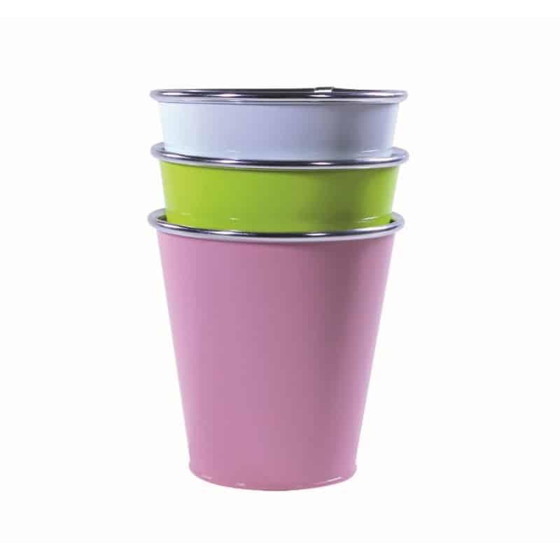 Pot rond zinc multi-coloris - D.17cm x H.16cm