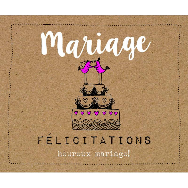 "Carte perforée ""félicitations mariage"" Yaum - grossiste carterie fleuriste"
