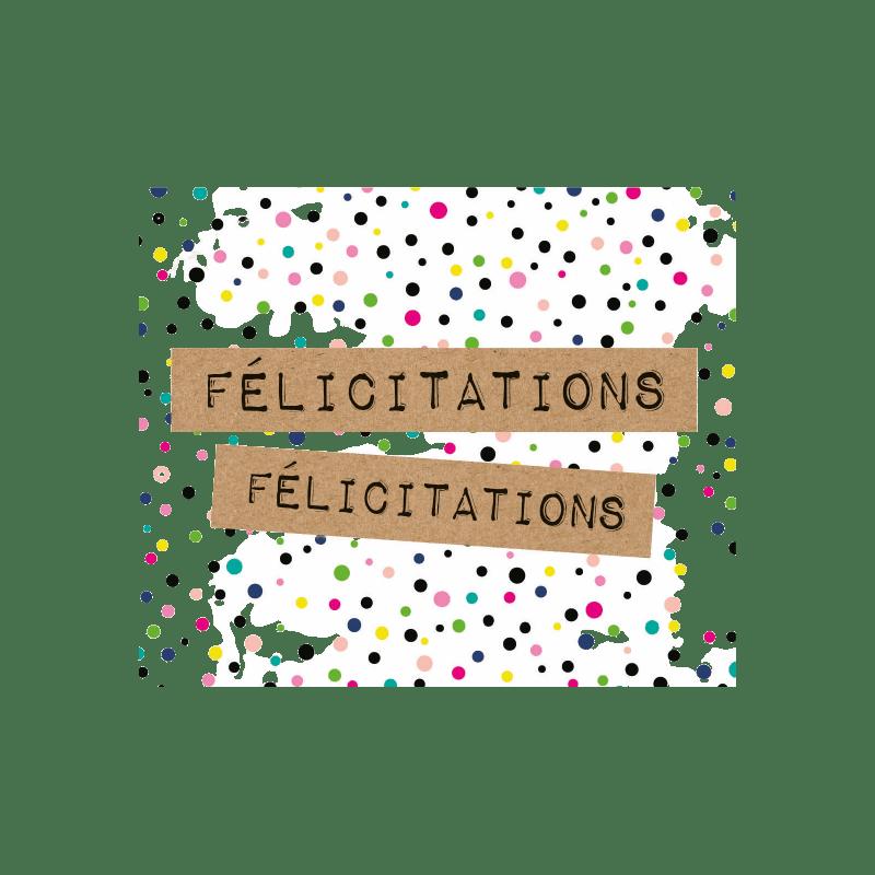"Carte perforée ""félicitations"" - grossiste carterie célébration Renaud"