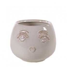 Pot rond visage - Grossiste fleuriste contenant décoration verrerie