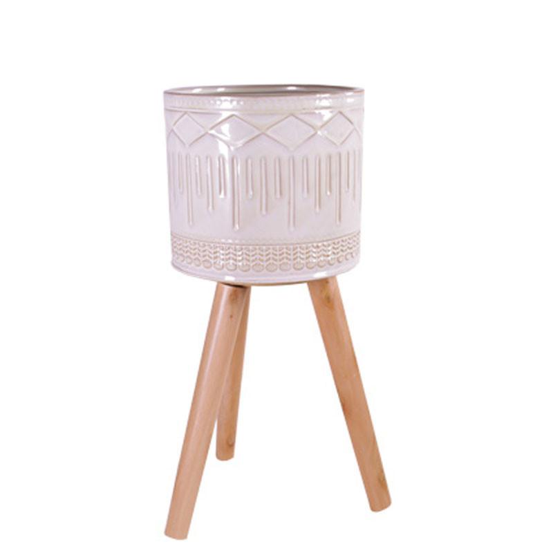 Pot cylindre sur pied en bois - Grossiste fleuriste céramique Renaud