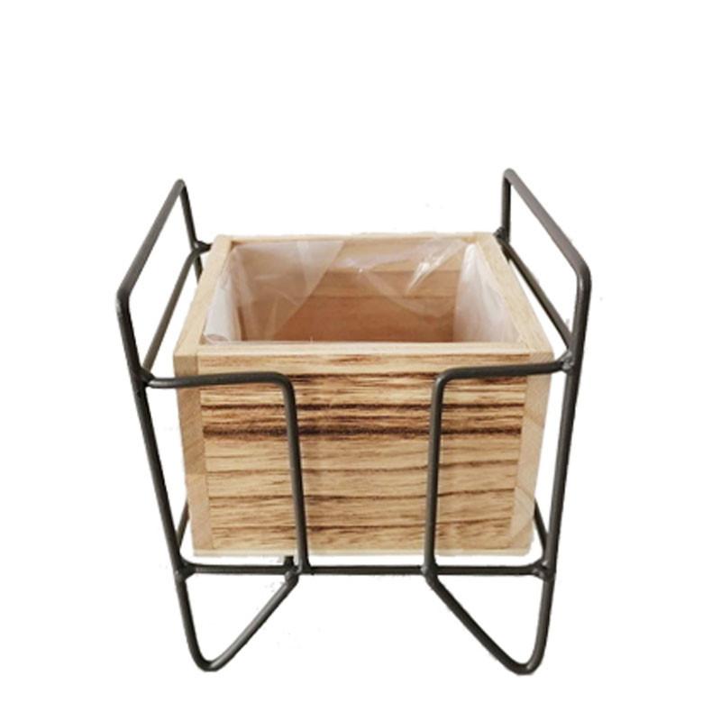 Pot carré bois support métal - Grossiste fleuriste contenant Renaud