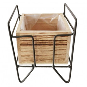 Pot carré bois support...