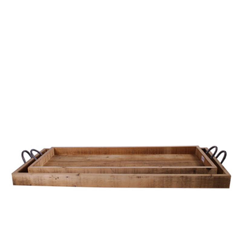 Set de 2 plateaux rectangulaires en bois avec poignées - Contenant