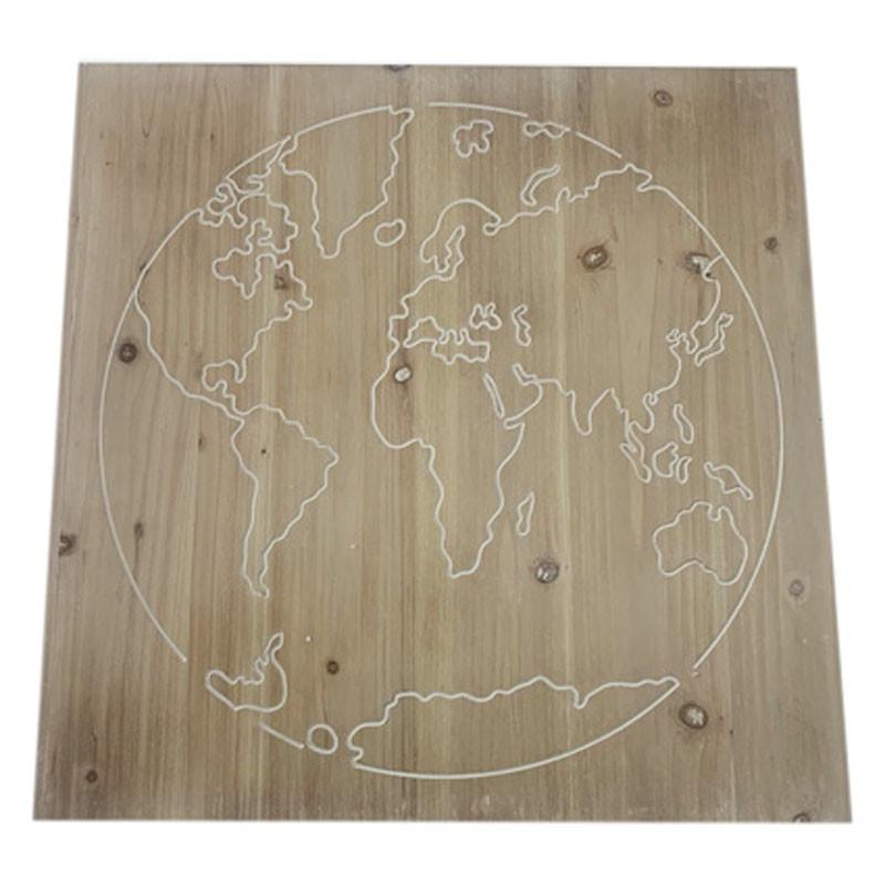 Carte du monde sur support en bois - Décoration vitrine grossiste