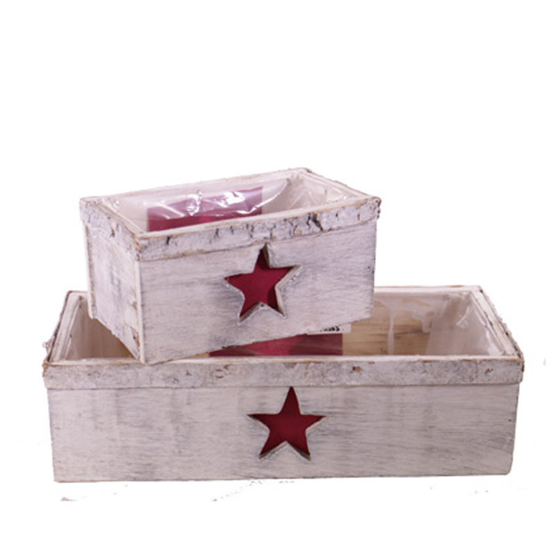 Set de 3 jardinière bois avec étoile - Grossiste fleuriste contenant