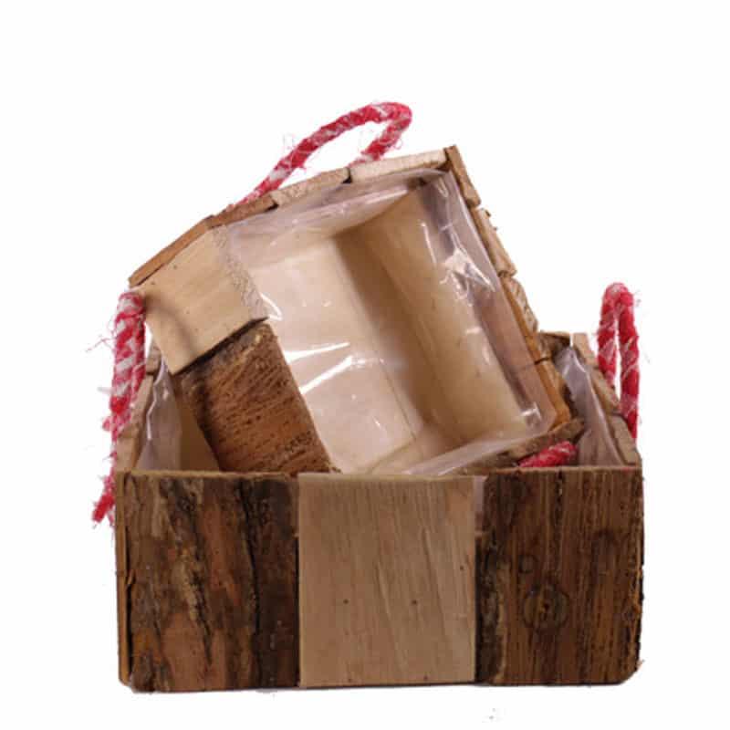 Set 2 paniers carré en bois avec poignées - Contenant fleuriste Renaud
