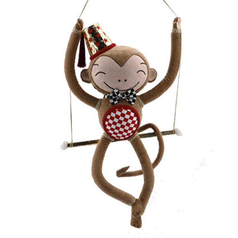 Singe trapéziste - Grossiste fleuriste décoration vitrine animaux Noël