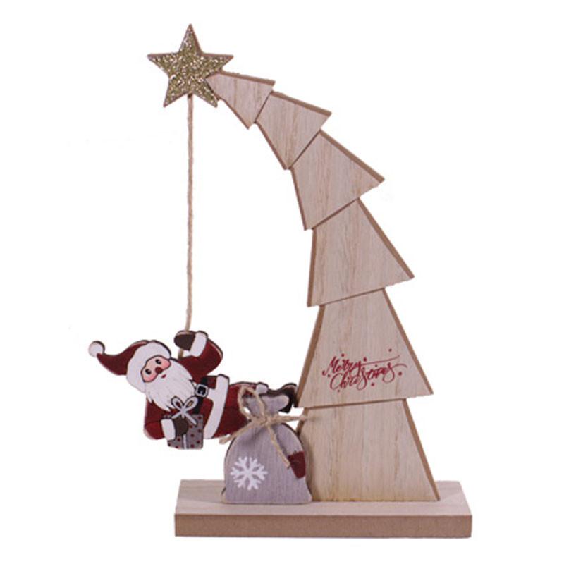 Père Noël qui descend du sapin - Grossiste décoration vitrine Renaud