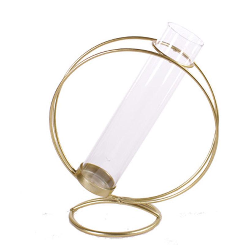 Eprouvette avec cercle métal - Grossiste contenant verre composer déco