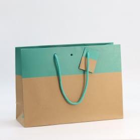 10 sacs en kraft turquoise...