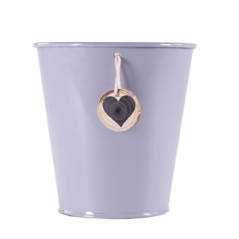 Pot rond pampille bois étoile - Grossiste fleuriste contenant zinc
