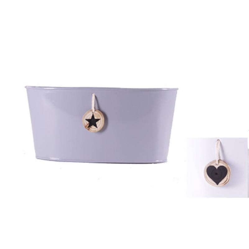 Jardinière ovale pampille bois étoile - Contenant zinc grossiste Noël