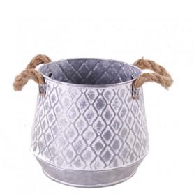 Pot zinc avec motif losange...